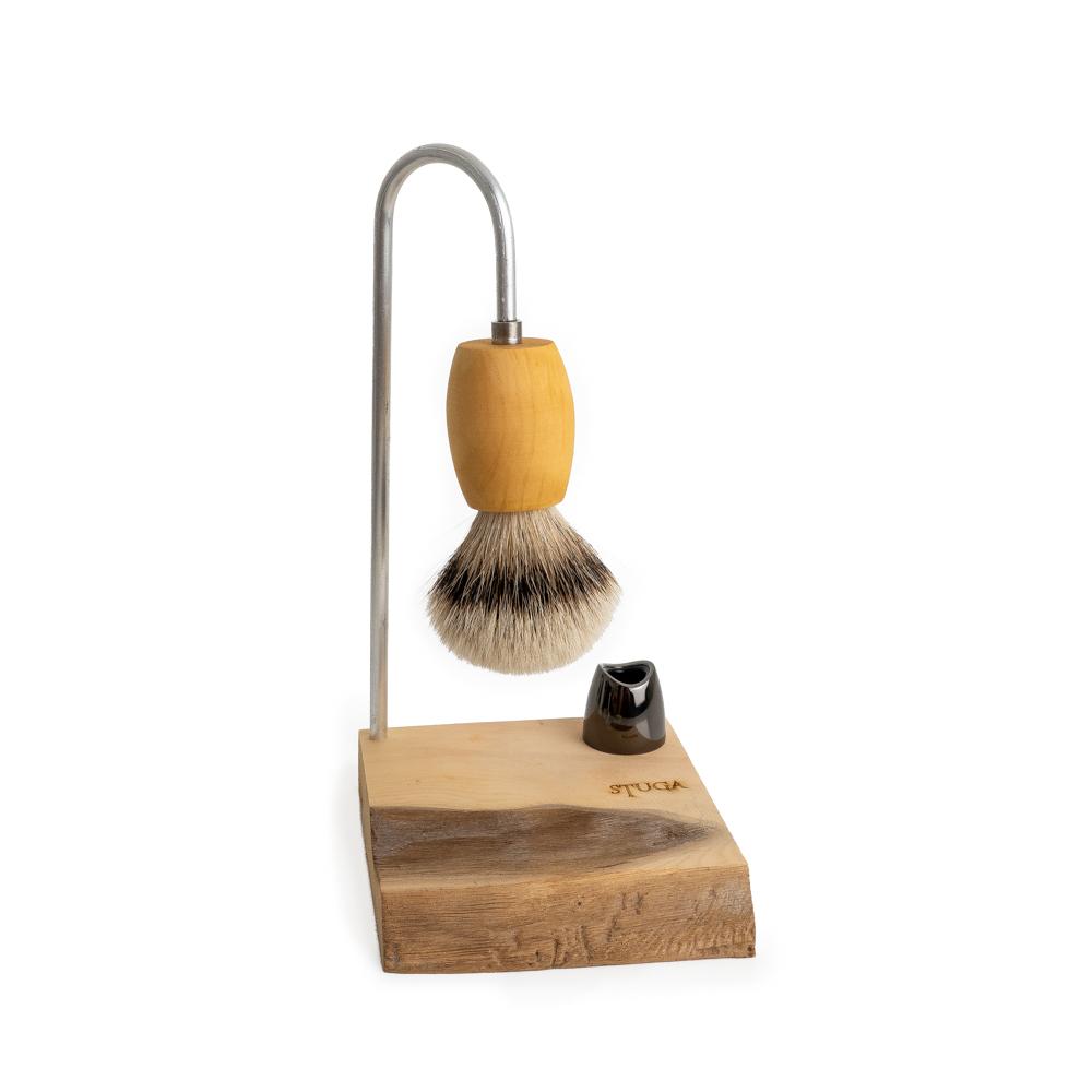 magic shaving brush hanging on stand made from Huon Pine