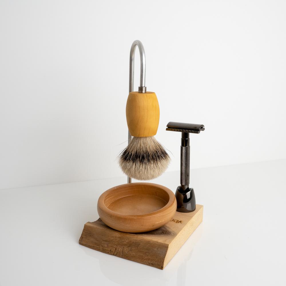 magic shaving brush on stand with double edge razor
