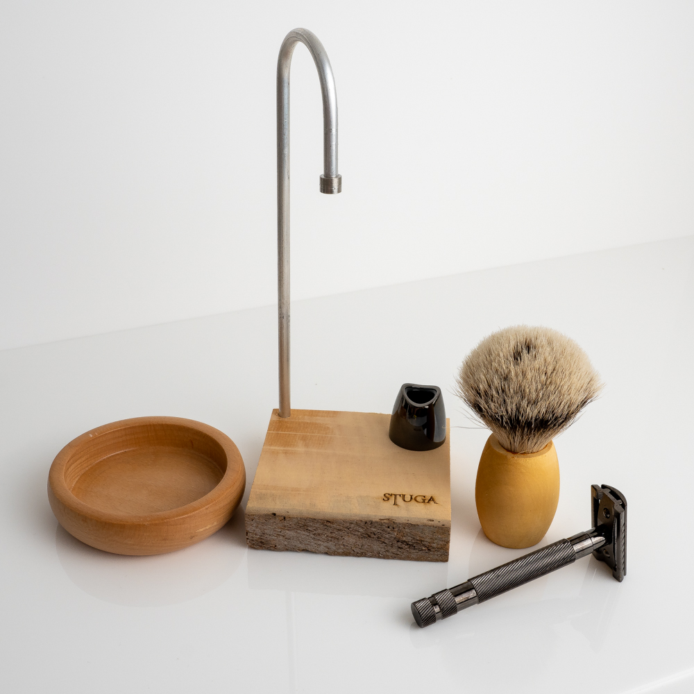 Stuga magic shaving kit de edge safety razor, brush and bowl on stand