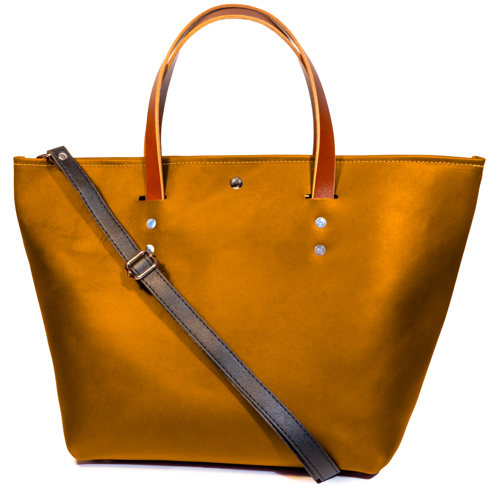 front angle closed of large tote made with amber australia cow leather