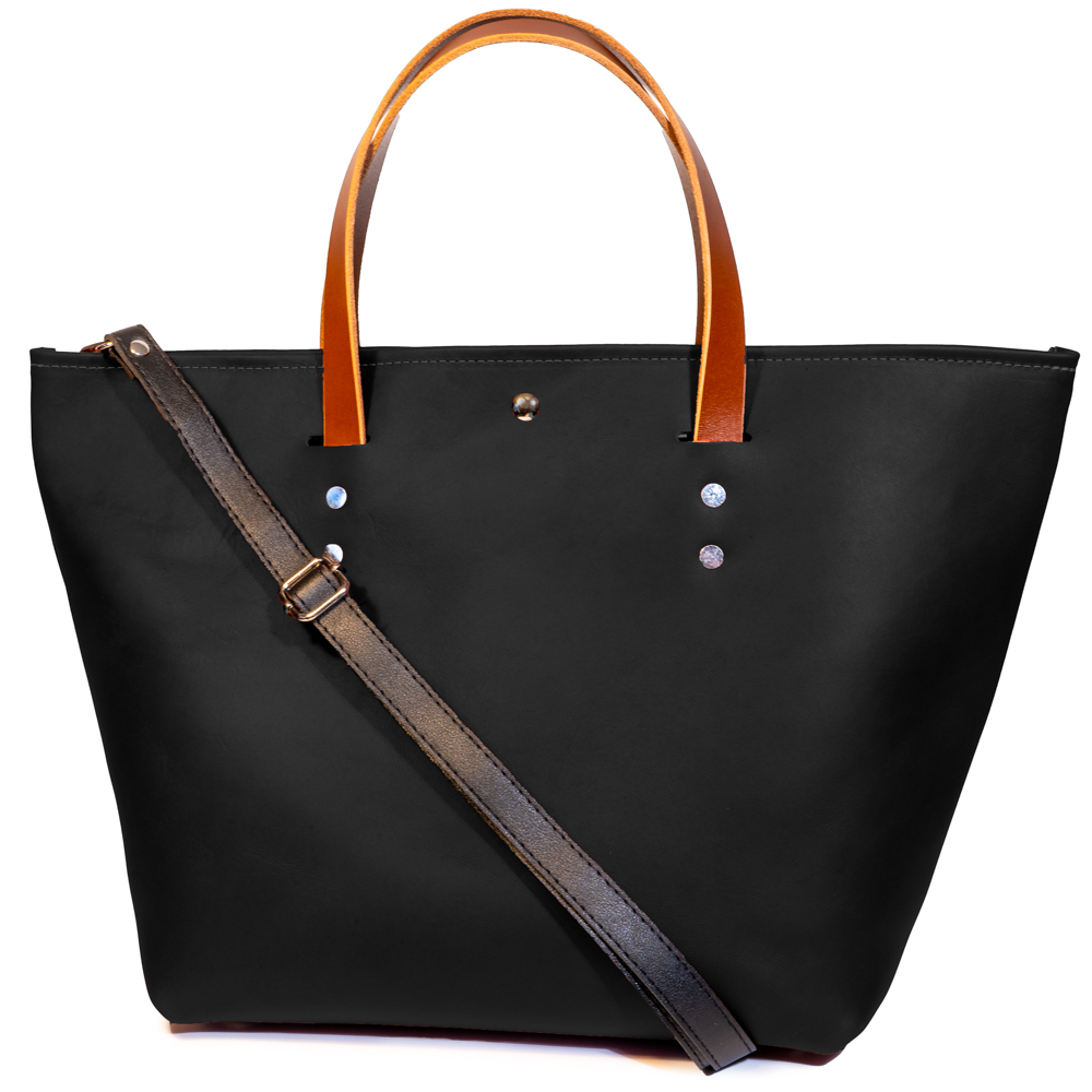 front angle closed of large tote made with black australia cow leather