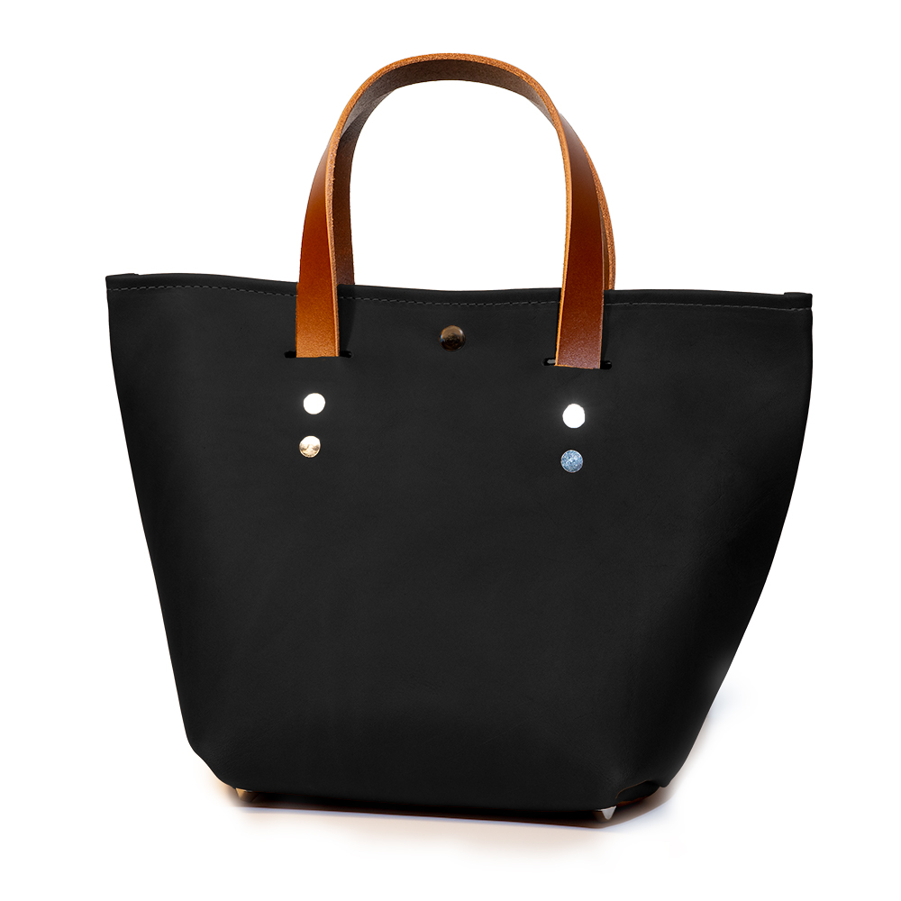front angle closed of small mini tote made with black australia cow leather