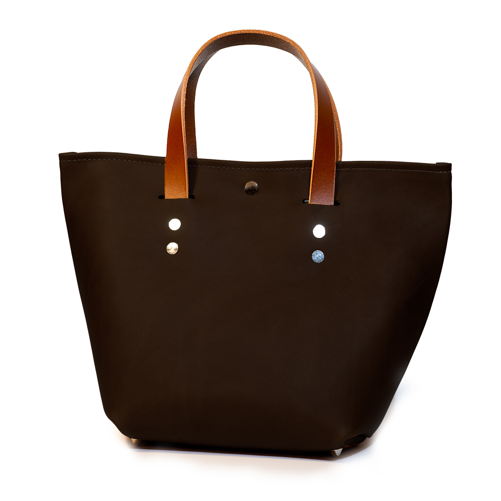 front angle closed of small mini tote made with brown australia cow leather