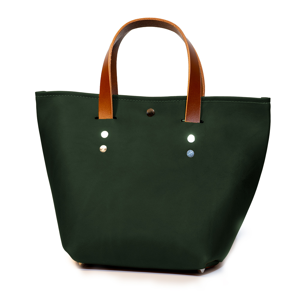 front angle closed of small mini tote made with green australia cow leather