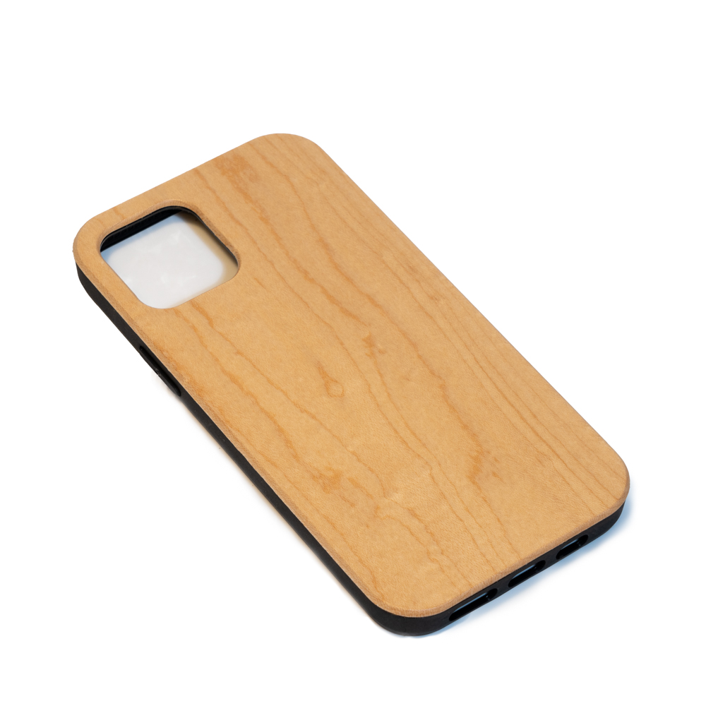 empty wooden mobile phone case maple wood