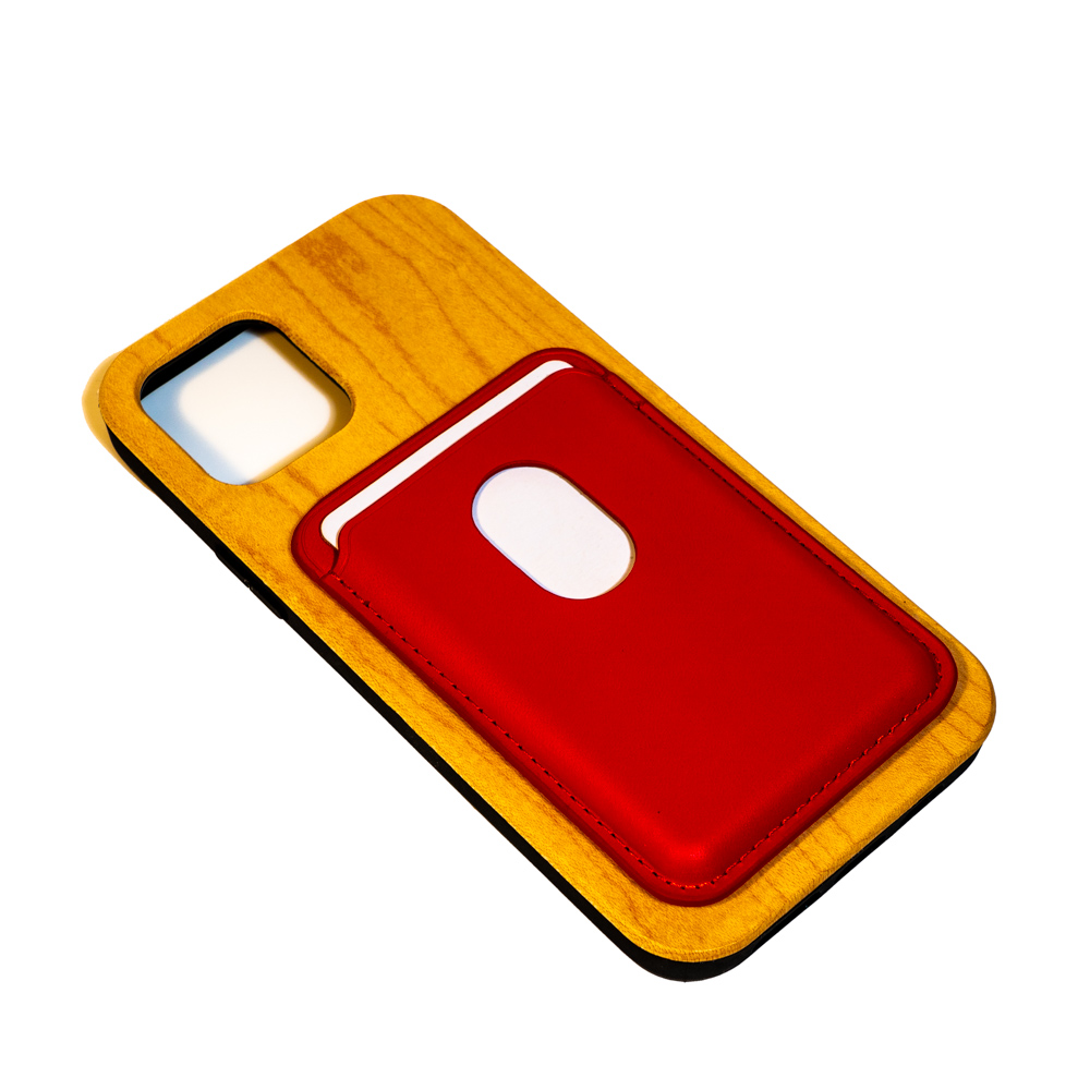 iphone wooden mobile phone case with red card pouch