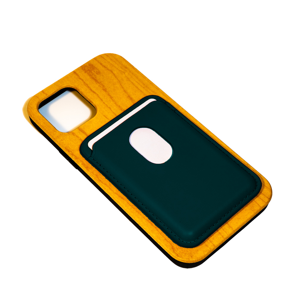 iphone wooden mobile phone case with navy card pouch