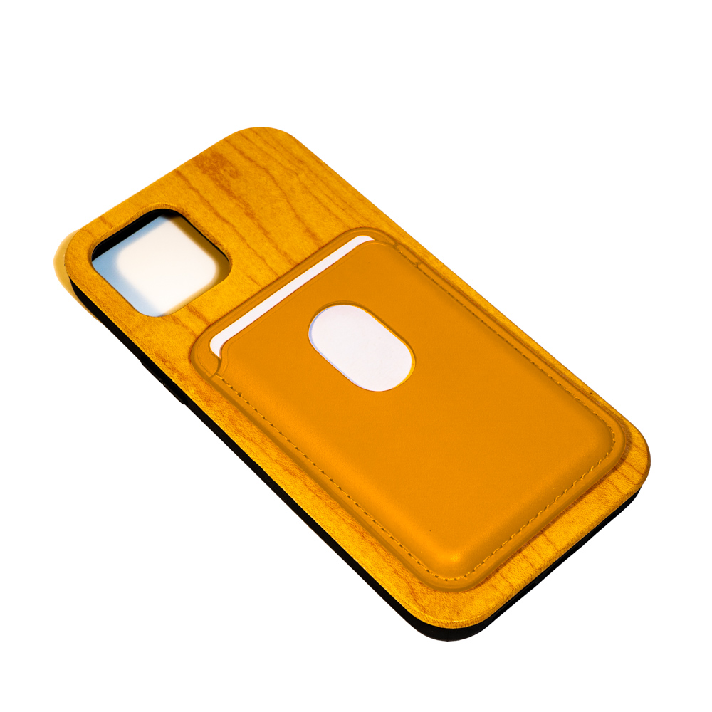 iphone wooden mobile phone case with yellow card pouch