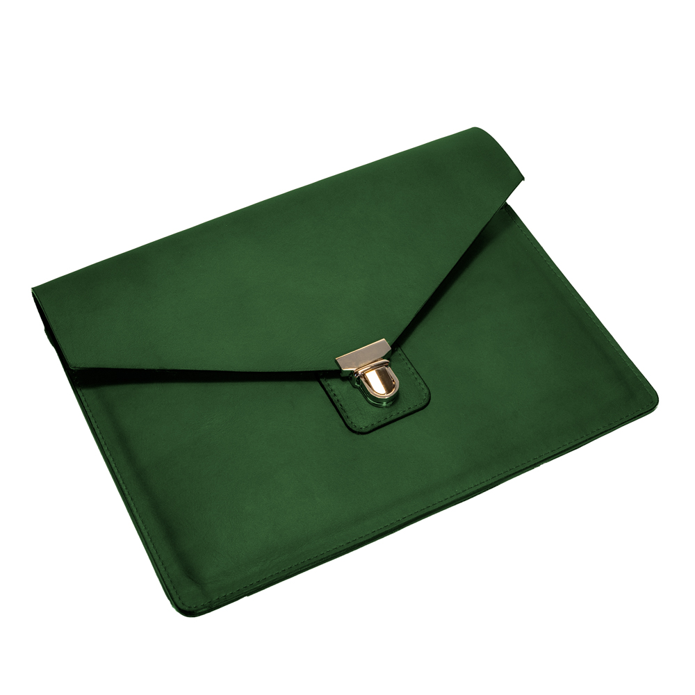 australian leather ipad case from cow leather in forest green dark leather