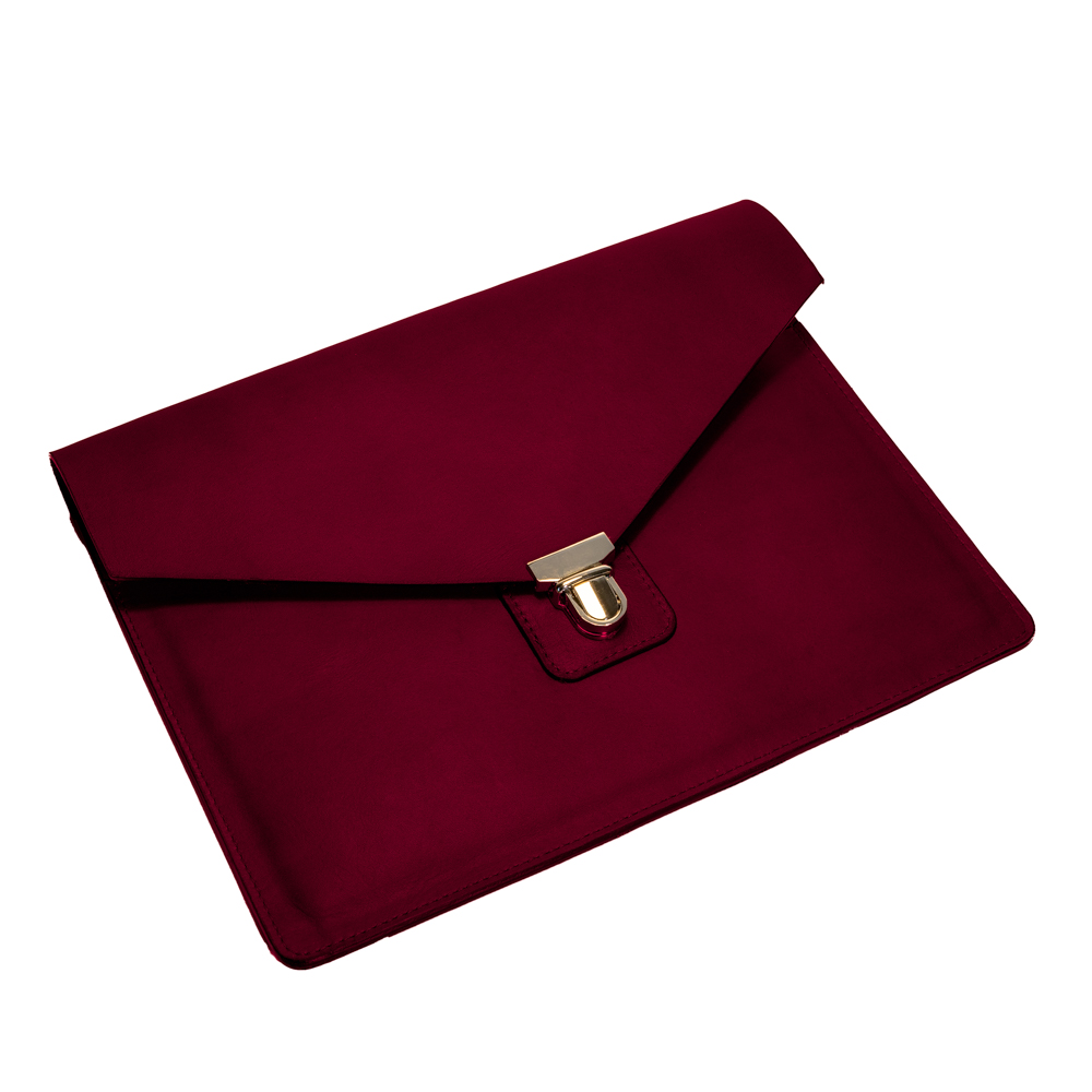 australian leather ipad case from cow leather in merlot dark red leather
