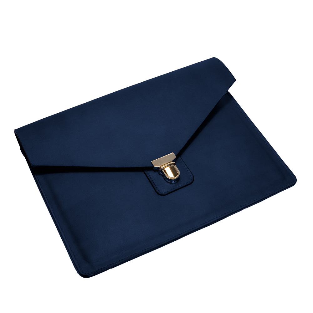 australian leather ipad case from cow leather in navy blue leather